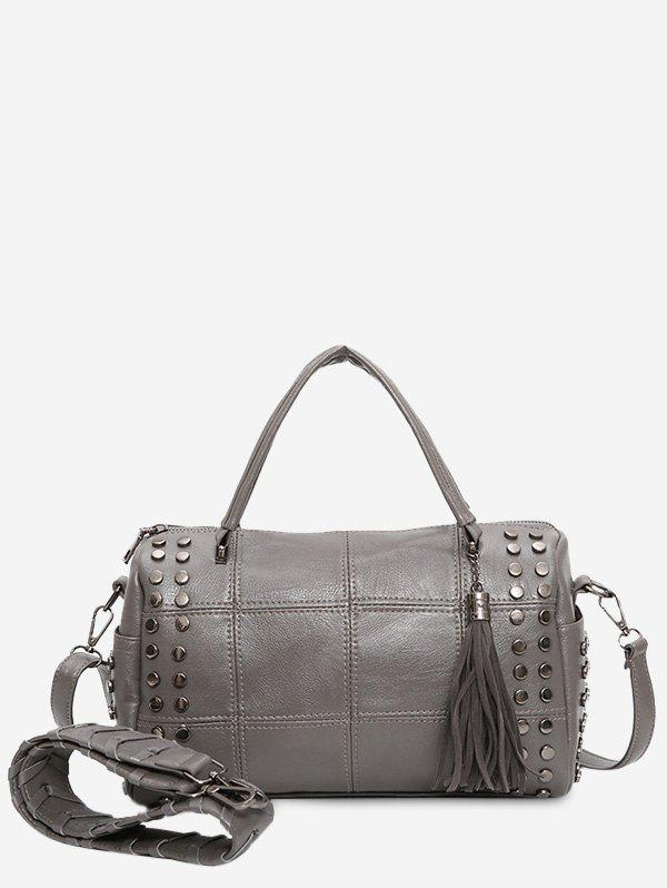 Stud Tassel Quilted Tote Bag - GRAY