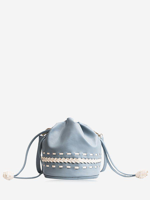 Braid Drawstring Crossbody Bag - BLUE