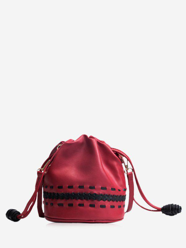 Braid Drawstring Crossbody Bag - Rouge