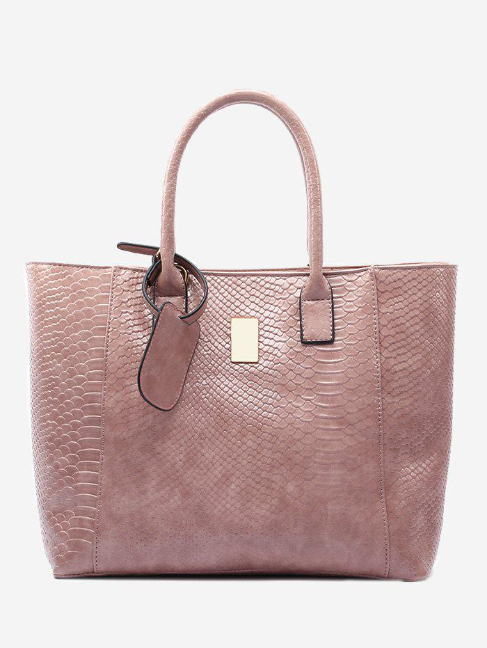 Crocodile Printed Faux Leather Shoulder Bag - PINK