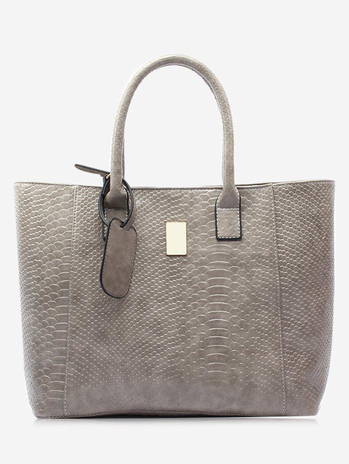 Crocodile Printed Faux Leather Shoulder Bag - GRAY
