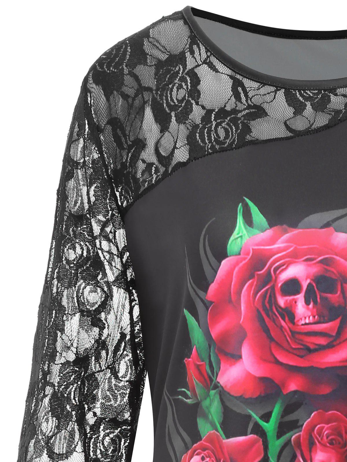 Plus Size Lace Panel Halloween Rose Skull Print Tee - BLACK 3XL