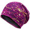 Vintage Flower Embroidered Rhinestone Beanie Hat - PURPLE