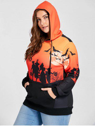 Plus Size Halloween Moon Bat Print Hoodie with Pocket