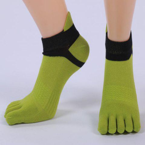 Combinaison de coton Five Fingers Toe Ankle Socks - Vert