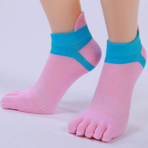Combinaison de coton Five Fingers Toe Ankle Socks - Rose