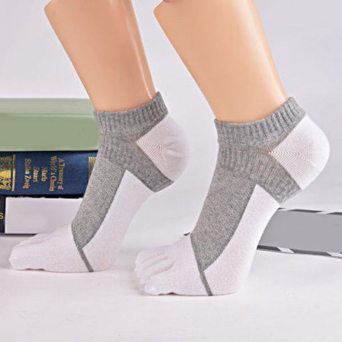 Color Block Five Toes Ankle Socks - WHITE