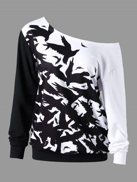 Halloween Plus Size Skew Collar Sweatshirt - BLACK WHITE 3XL