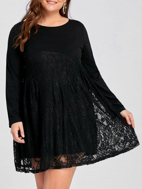 Limited Offer 2018 Plus Size Lace Panel Mini Smock Dress In Black