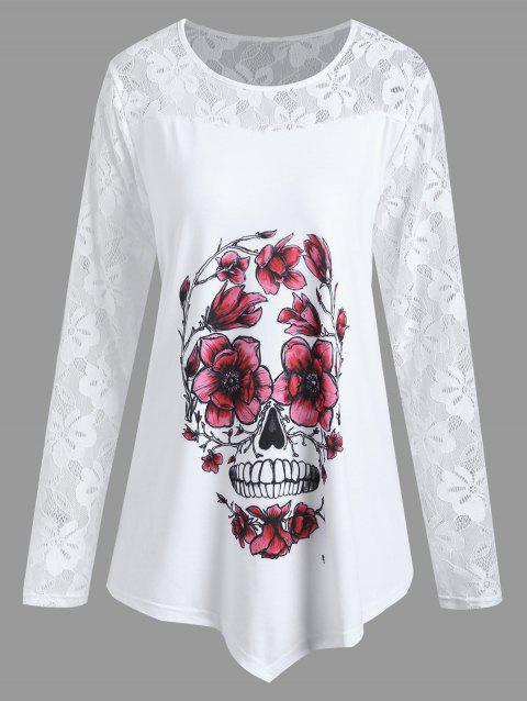 6a2fb71d154 17% OFF  2019 Plus Size Halloween Floral Skull Asymmetrical Tee In ...