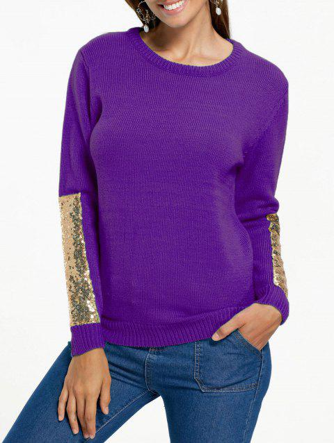 Sequin Panel Pullover Knit Sweater - PURPLE 2XL