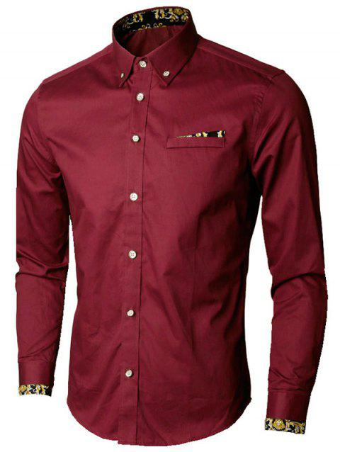 Faux Pocket Floral Trim Button Down Shirt - Rouge vineux L