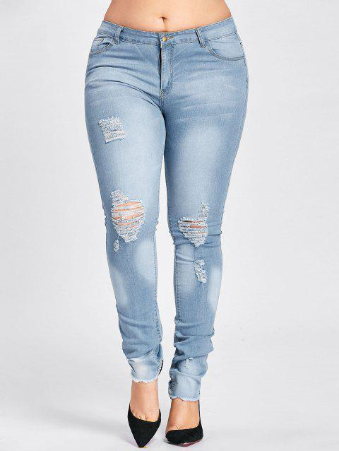 Plus Size Low Waisted Light Wash Ripped Jeans - CLOUDY ONE SIZE