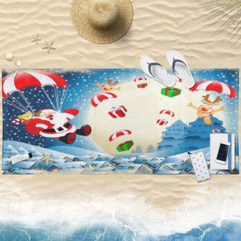 Elk Santa Claus Print Christmas Bath Towel - LIGHT BLUE 75CM*150CM