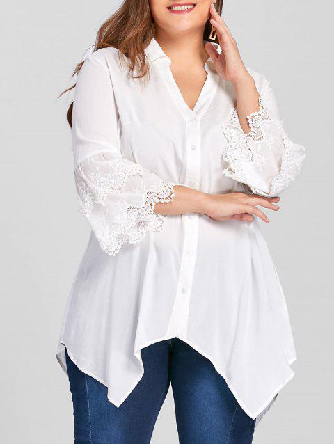 bb728b42f11 17% OFF  2019 Plus Size Layered Sleeve Tunic Blouse In WHITE 2XL ...