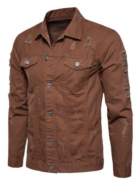 Distressed Button Up Cargo Jacket - COFFEE XL