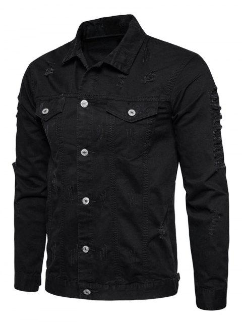 Distressed Button Up Cargo Jacket - BLACK L