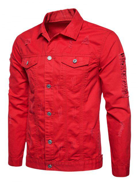 Distressed Button Up Cargo Jacket - RED XL