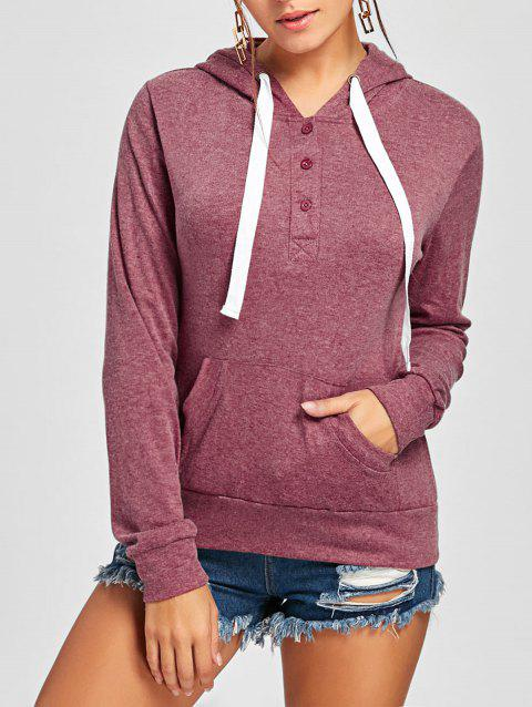 Pullover Buttons Kangaroo Pocket Long Sleeve Hoodie - CLARET M