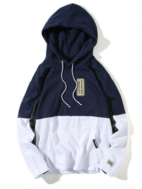 Embroidered Appliques Color Block Pullover Hoodie - DEEP BLUE M