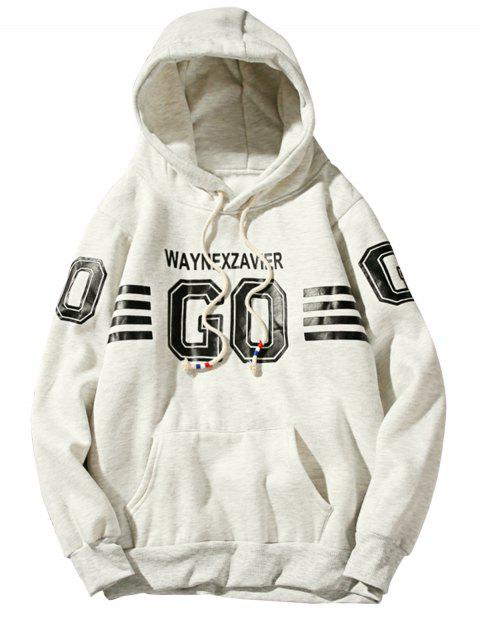 Fleece Graphic Stripe Print Pullover Hoodie - OFF WHITE M