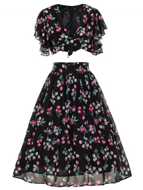 Cherry Print High Waisted Two Piece Midi Dress - BLACK L