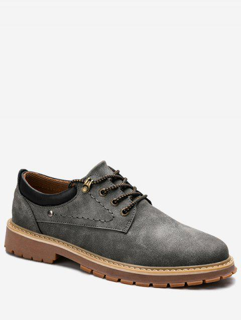 Low Top Lace Up Stitching Casual Shoes - GRAY 44