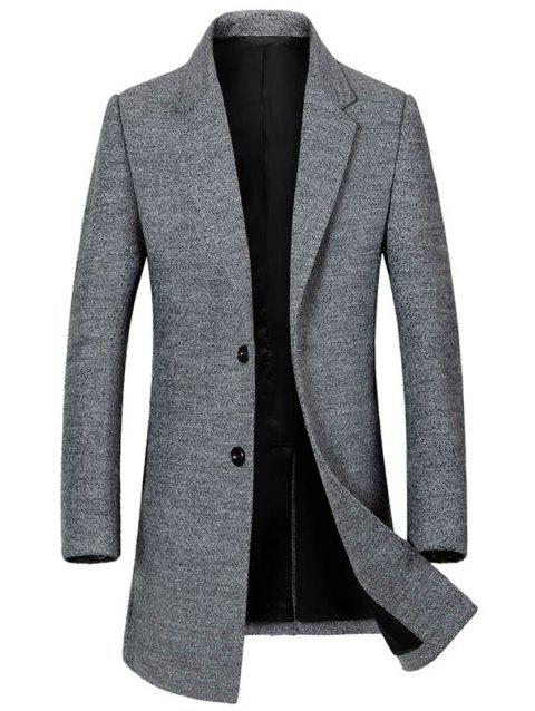 Lapel Collar Single Breasted Wool Blend Coat - GRAY XL