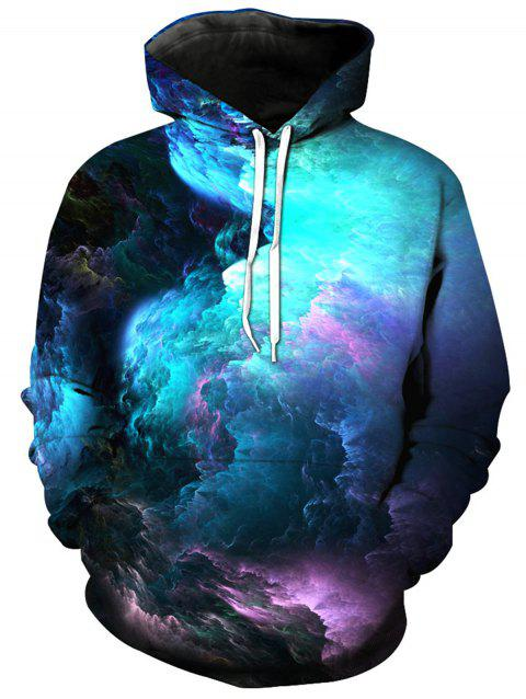 Colorful 3D Clouds Print Pullover Hoodie - COLORMIX L