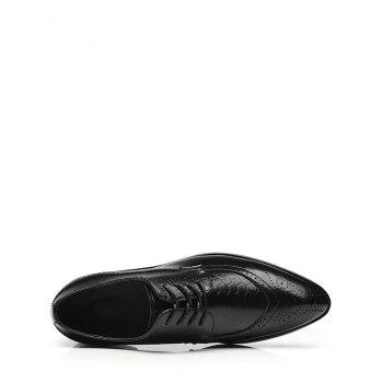 Pointed Toe Embossing Formal Shoes - BLACK BLACK