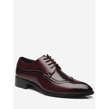 Pointed Toe Embossing Formal Shoes - BROWN 41