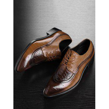 Pointed Toe Embossing Formal Shoes - YELLOW 42