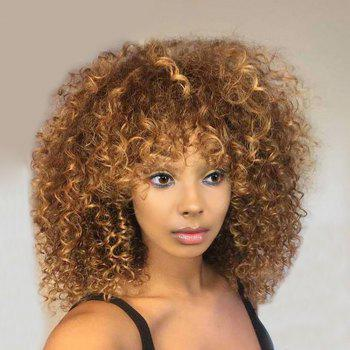 Medium Side Fringe Shaggy Colormix Afro Kinky Curly Synthetic Wig - COLORMIX COLORMIX