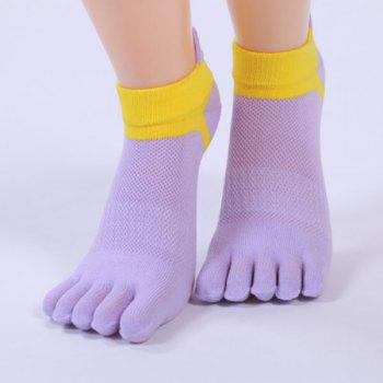 Cotton Blend Five Fingers Toe Ankle Socks - PURPLE