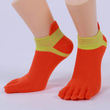 Cotton Blend Five Fingers Toe Ankle Socks - RED RED
