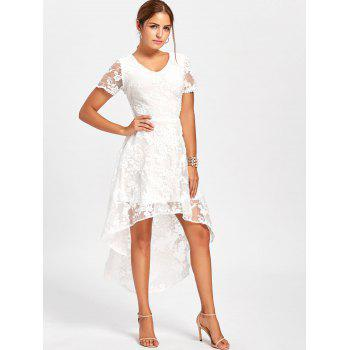 Back Tie Up Lace High Low Dress - WHITE S