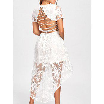 Back Tie Up Lace High Low Dress - WHITE M