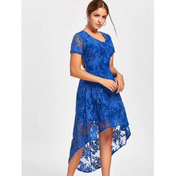 Back Tie Up Lace High Low Robe - Bleu M