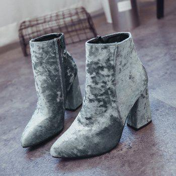 Pointed Toe Ankle Chunky Boots - GRAY 36