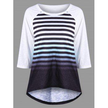 Striped Raglan Sleeve Ombre Top - BLACK WHITE L