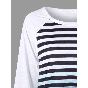 Striped Raglan Sleeve Ombre Top - L L