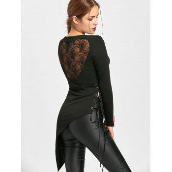 Halloween Sheer Lace Up Asymmetric Top - M M