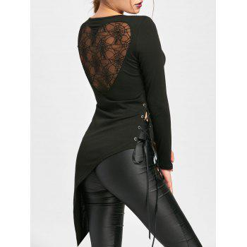 Halloween Sheer Lace Up Asymmetric Top - BLACK M