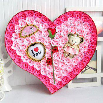 Valentine's Day Rose Flowers Heart Shape Novelty Gift Light - PINK PINK