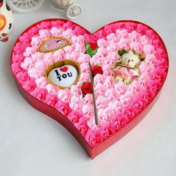 Valentine's Day Rose Flowers Heart Shape Novelty Gift Light -  PINK