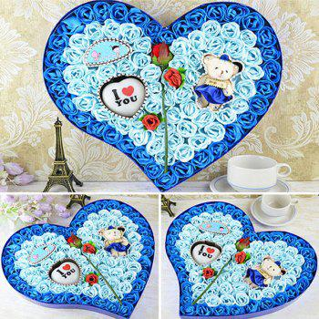 Valentine's Day Rose Flowers Heart Shape Novelty Gift Light -  BLUE