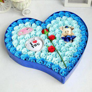 Valentine's Day Rose Flowers Heart Shape Novelty Gift Light - BLUE BLUE