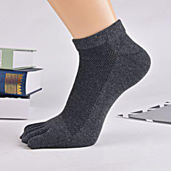 Cotton Blend Five Finger Toe Ankle Socks - DEEP GRAY