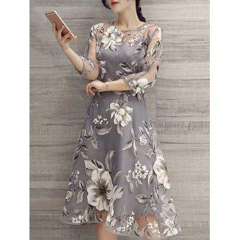 See-Through Floral Print Dress - LIGHT GRAY 2XL