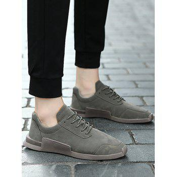 Tie Up Round Toe Sneakers - GRAY 44